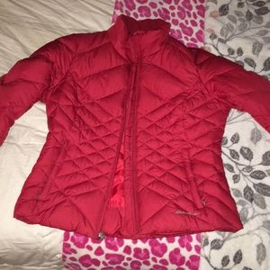 Red Eddie Bauer snow coat